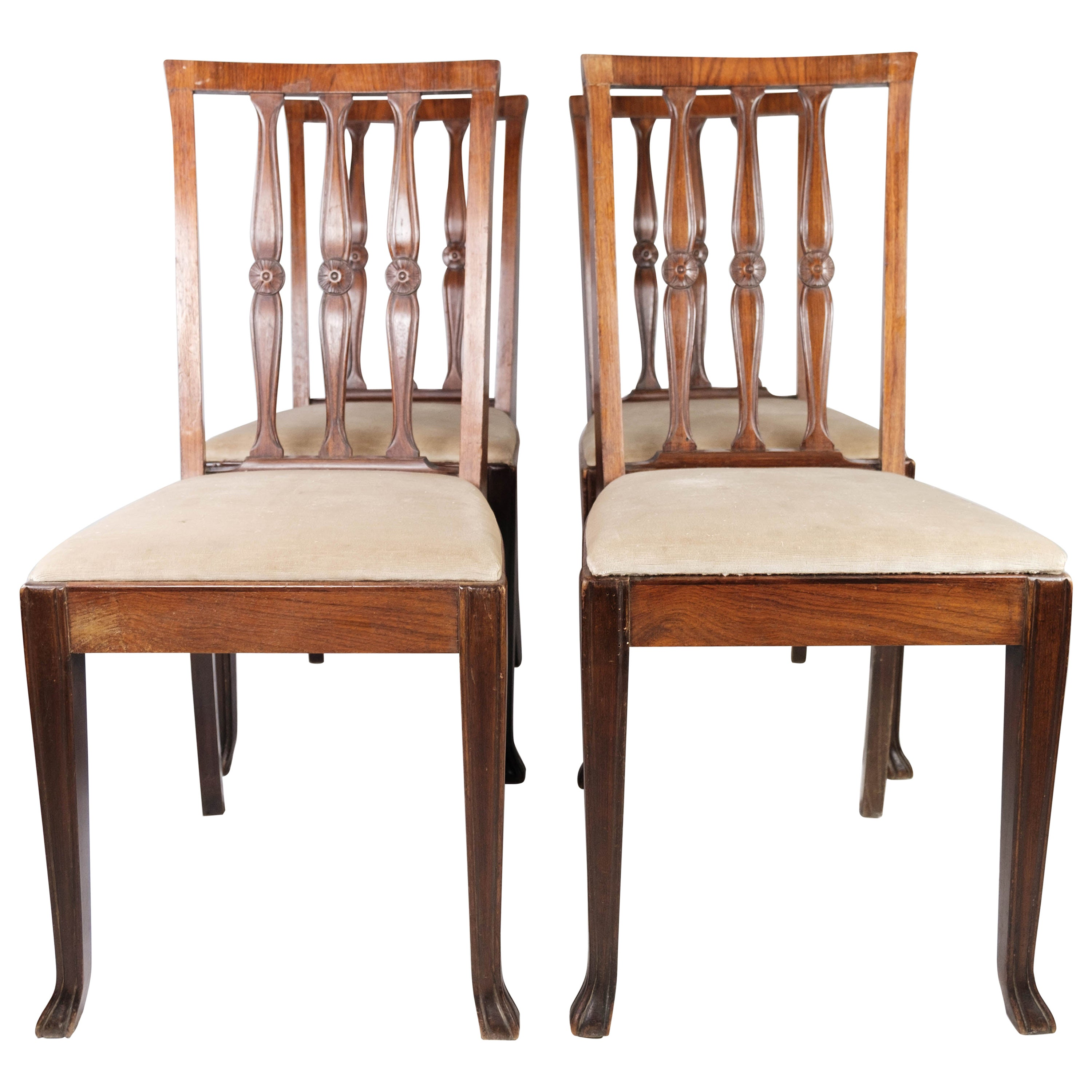 Set of Four Dining Room Chairs in Rosewood, 1920s