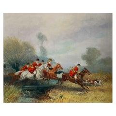 "Pechaubes Eugène '1890-1967' ""Hunting at the river crossing"""
