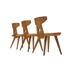 Jacob Kielland-Brandt Set of Three Dining Chairs in Solid Pine