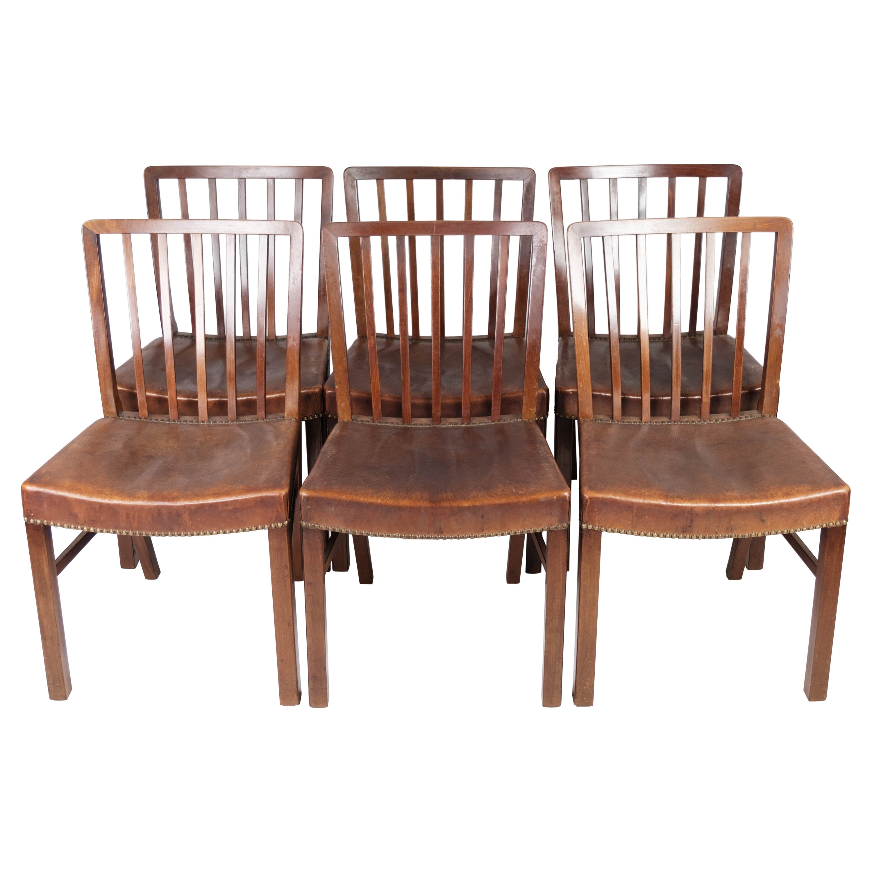 Set of Six Dining Room Chairs of Mahogany by Fritz Hansen, 1940s