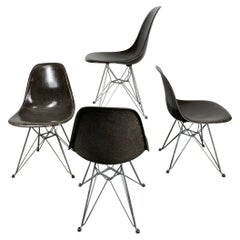 Set 4 Early Eames Fiberglass DSR Chairs on Eiffel Tower Bases