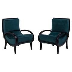 1920s Art Deco Teal Velvet Bentwood Armchairs, Set of 2