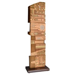 Italian Wooden Sculpture by Gianni Pinna, 1981