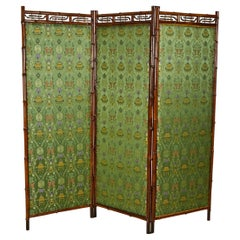 Victorian Bamboo 3-Fold Screen with Floral Green and Yellow Upholstered Panels