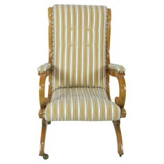English Victorian Blond Wood Scroll Armchair with Striped Upholstery