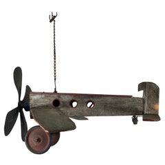 1930s Folk Art, Wood and Metal Airplane / Fan