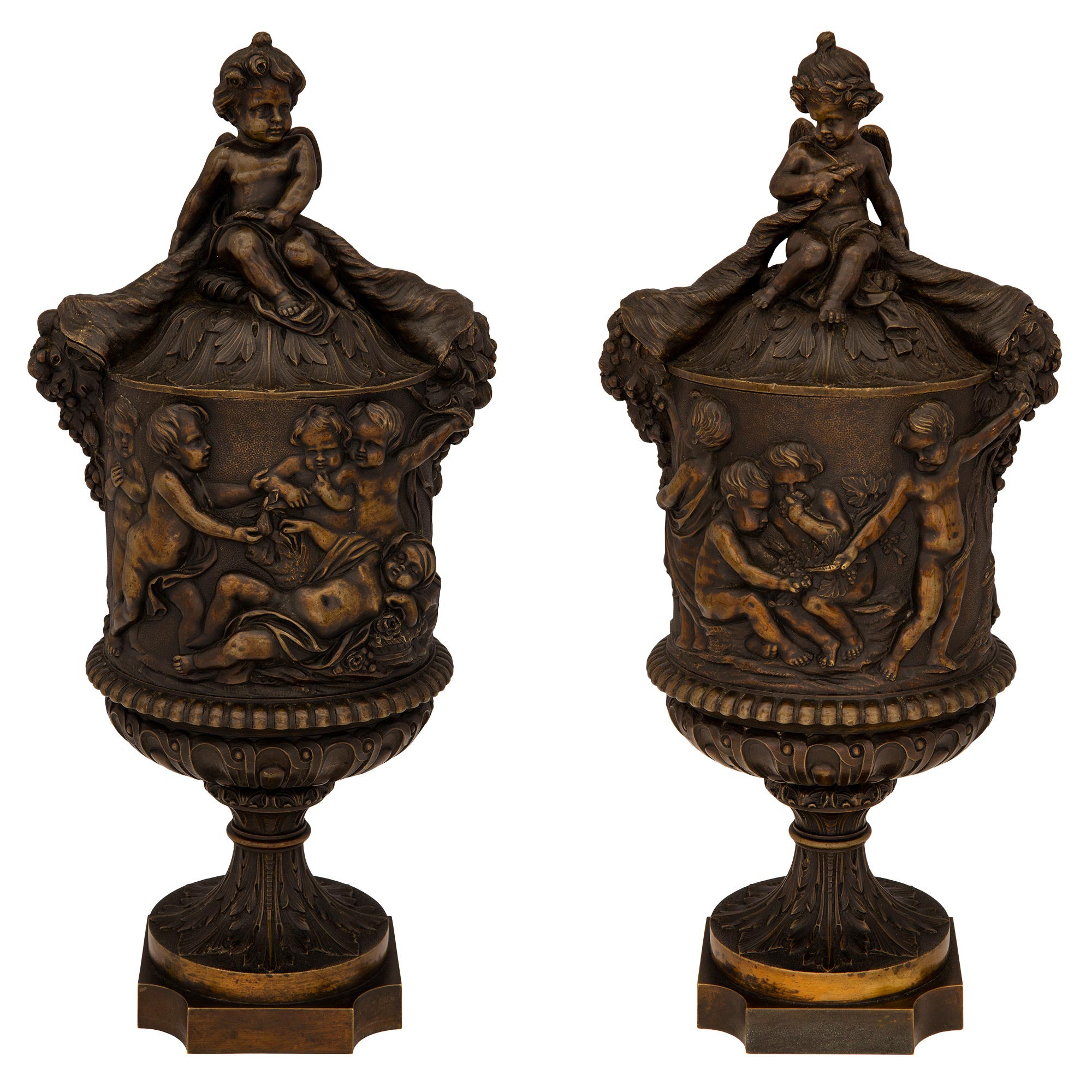 Pair of French 19th Century Renaissance Style Patinated Bronze Lidded Urns