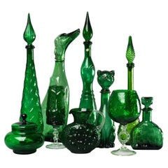 Ten 1960s Italian Empoli MCM Green Glass Vases Decanters Goblet and Candy Jar