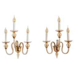 Italian Three-Arm Wall Sconces in Amber Murano Crystal Glass and Brass, 1970s