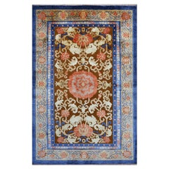 Imperial Chinese Design Rug Wool and Silk