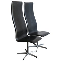 Oxford Midcentury Black Leather Chairs by Arne Jacobsen for Fritz Hansen, 1960s