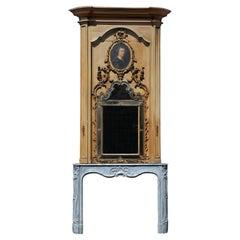 Exceptional Dutch Rococo Fireplace Mantel with Original Trumeau