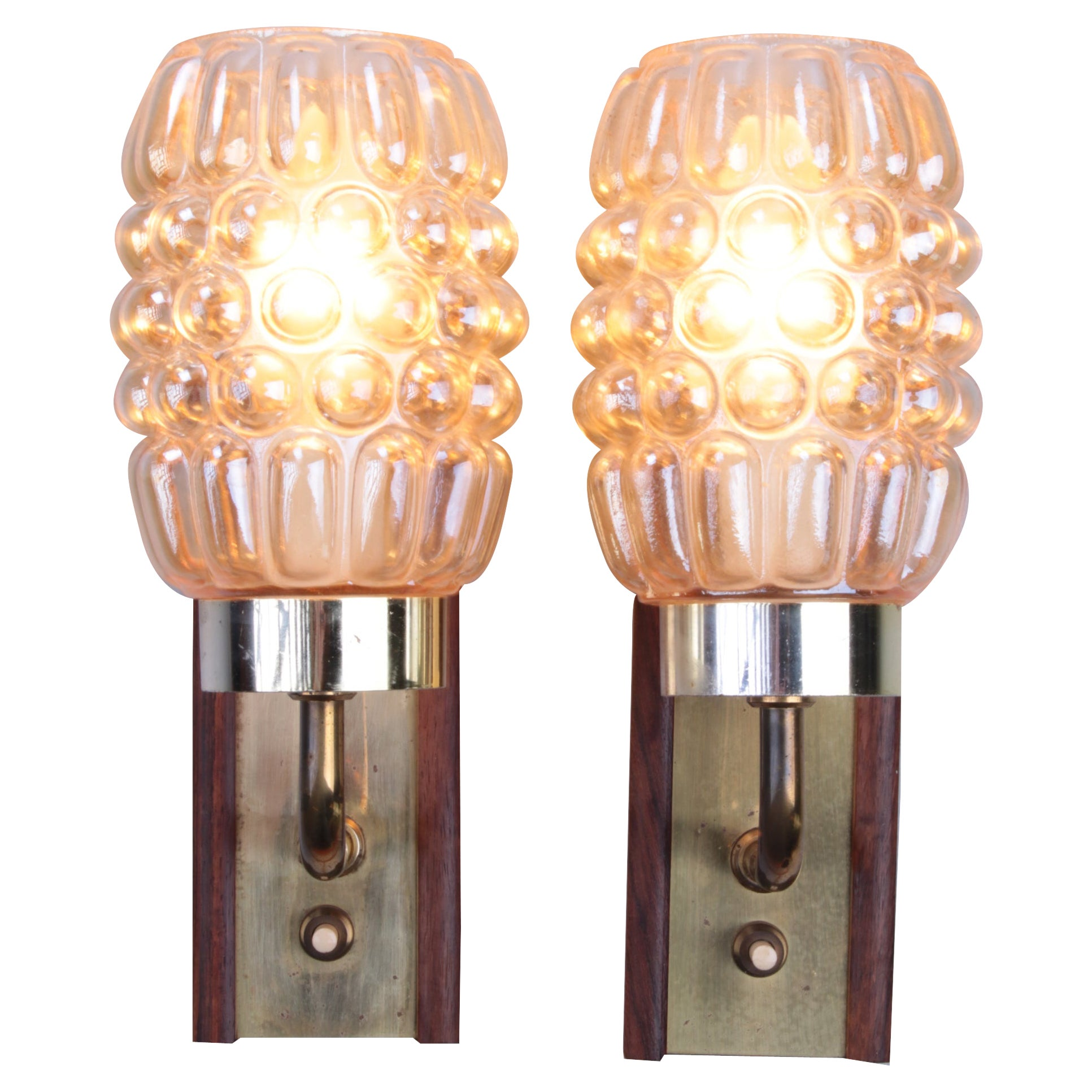 Set Wall Lamps Danish Teak with Brass and Glass