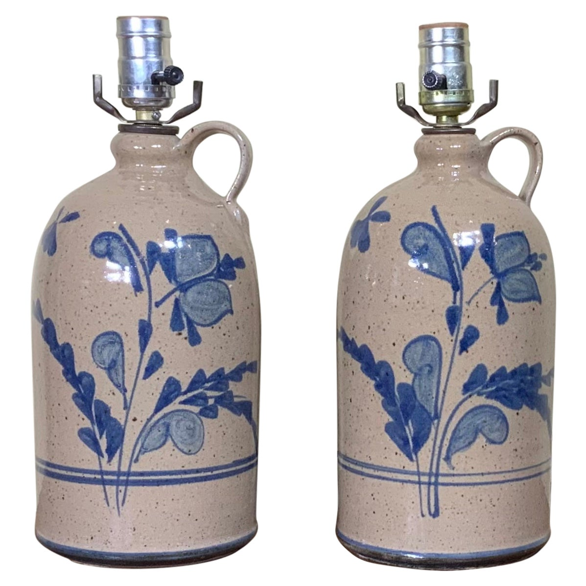 Pair of Vintage Ceramic Bottle Table Lamps 20th C