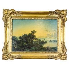19th-Century Oil on Hardboard in Gold Frame