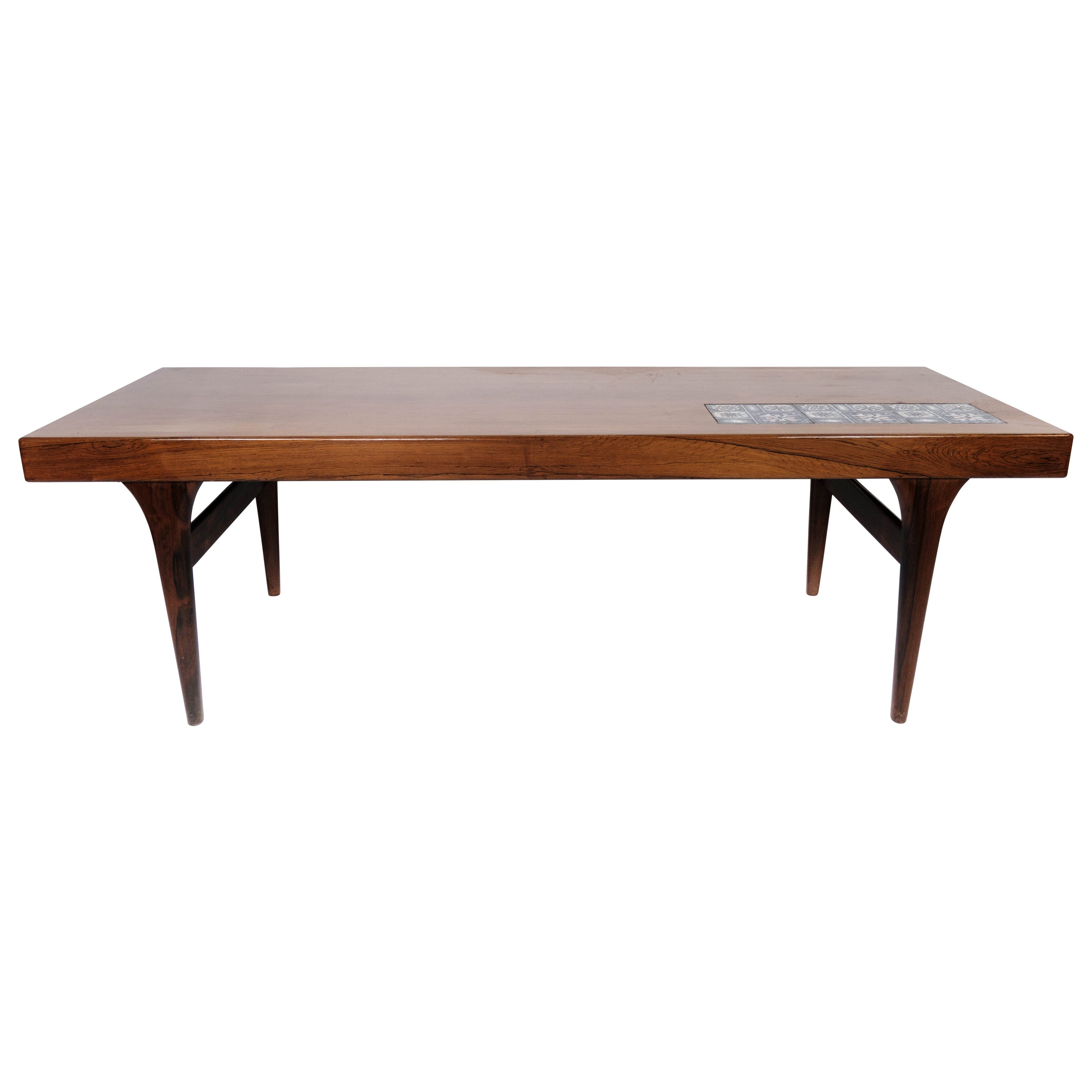 Coffee Table in Rosewood with Blue Tiles Designed by Johannes Andersen, 1960s
