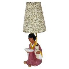 Pink Ceramic Geisha Chinoiserie Vintage Table Lamp 1950s Carli Bauer Austria