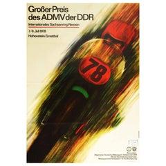 Original Vintage Sport Poster Grand Prix Motorcycle Race Sachsenring ADMV DDR