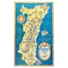 Original Vintage Poster Les Vignobles d'Alsace Vineyards French Wine Map Rhine