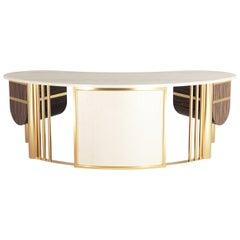 Modern Art Deco Design Desk in White Oak Leaf and Gold Metal Details