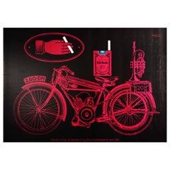 Original Vintage Poster Roth Handle Cigarettes Tobacco Smoking Motorcycle Design