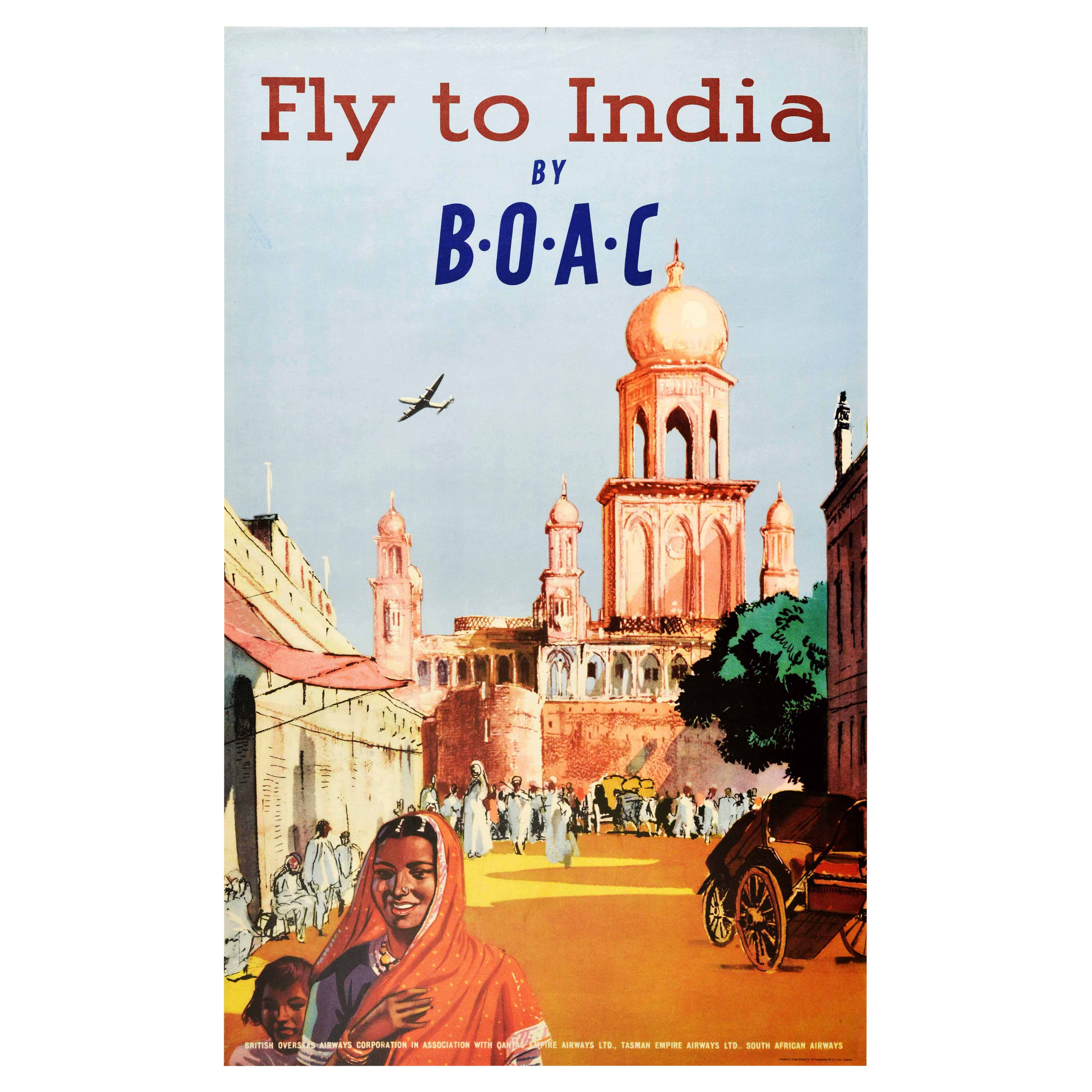 Original Vintage Poster Fly To India By BOAC British Overseas Airways Travel Art