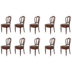 Set of 10 English Victorian Mahogany Dining Chairs