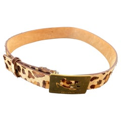 ETRO Leopard-Print Leather Belt with the Iconic Pegaso Brass Buckle