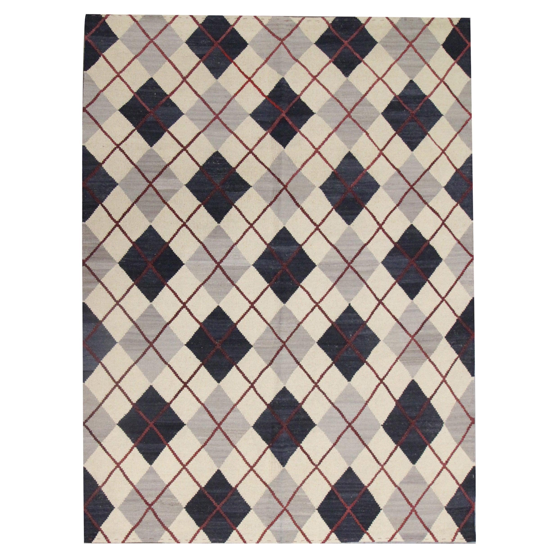 Modern Kilim Cream Blue Wool Kilim Carpet All Over Geometric Area Rug