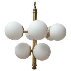 Italian Brass and Opaline Glass Chandelier Pendant