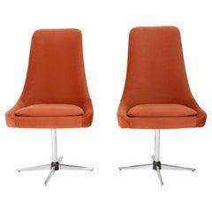 Pair of 20th Century Vintage Orange Ochra Velvet Swivel Armchairs, 1960s