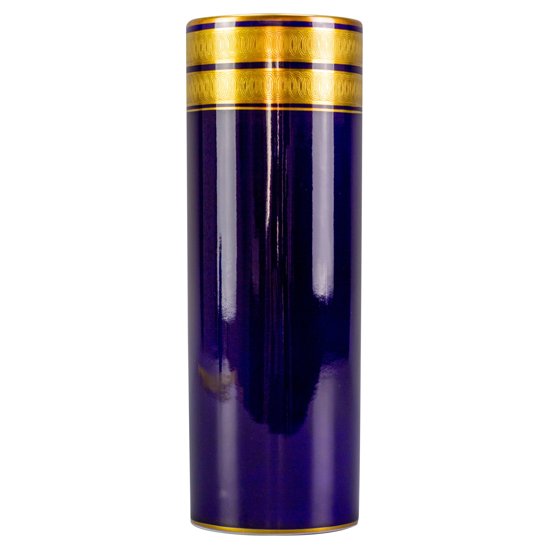 German Cobalt Blue and Gold Porcelain Vase by Hutschenreuther, 1970s