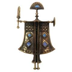 Rare Mid Century Bronze Knight Figure by Zoltan Pap, 1970s