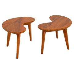 Pair of Vintage Walnut Kidney Side Tables
