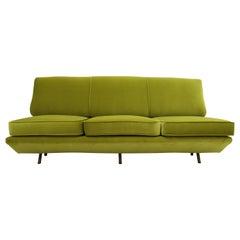 Marco Zanuso Sleep-O-Matic Green Velvet Sofa, Italy, 1950