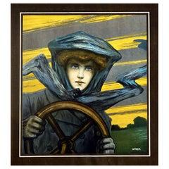 Original Antique Poster Lady Driver Classic Car Art Nouveau Automobile Artwork