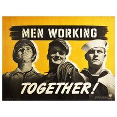 Original Vintage Poster Men Working Together WWII US Army Navy Home Front Worker