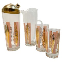 Vintage Fred Press 16 Piece Cocktail Set in Pink with Gold Stylized Leaves