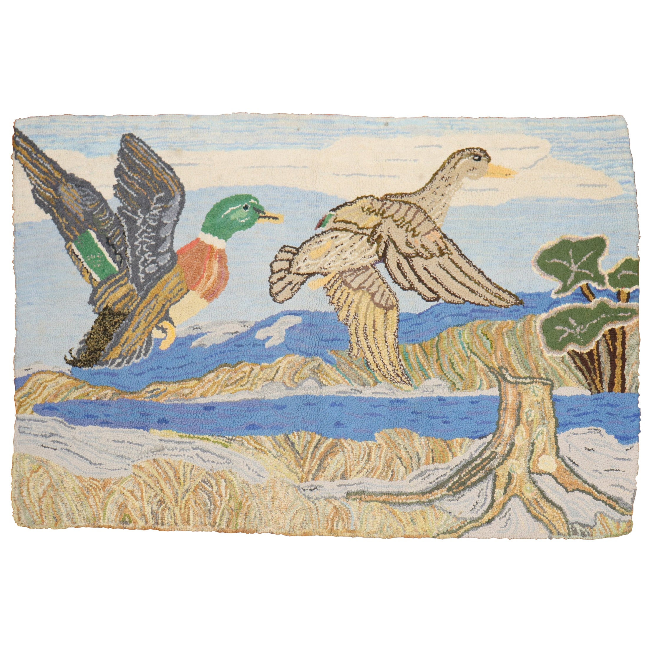 Scenic Duck American Hooked Pictorial Rug