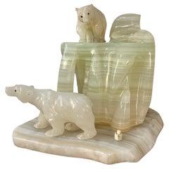 Carved Onyx Polar Bear Sculpture Lamp