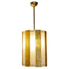 Bespoke Modern Art Deco Italian Gold White Murano Glass Brass Lantern/Chandelier