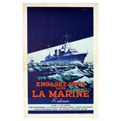 Original Vintage Poster Engagez Vous Dans La Marine French Navy Recruitment WWII