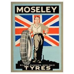 Original Vintage Poster Moseley Silent Running Non Skid Tyres UK Flag Factory