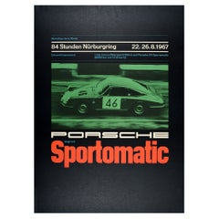 Original Vintage Poster Porsche Sportomatic Marathon Endurance Race Nurburgring