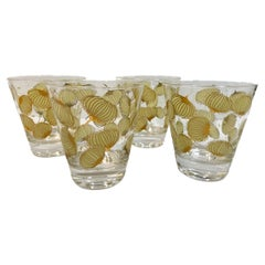 Vintage Set of 4 Fred Press Cocktail Onion Double Old Fashioned Glasses