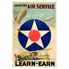 Original Antique Poster Join The Air Service Learn Earn WWI US Army Air Corps