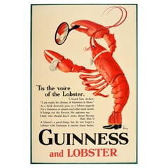 Original Vintage Guinness And Lobster Poster Alice In Wonderland Theme Poem Art