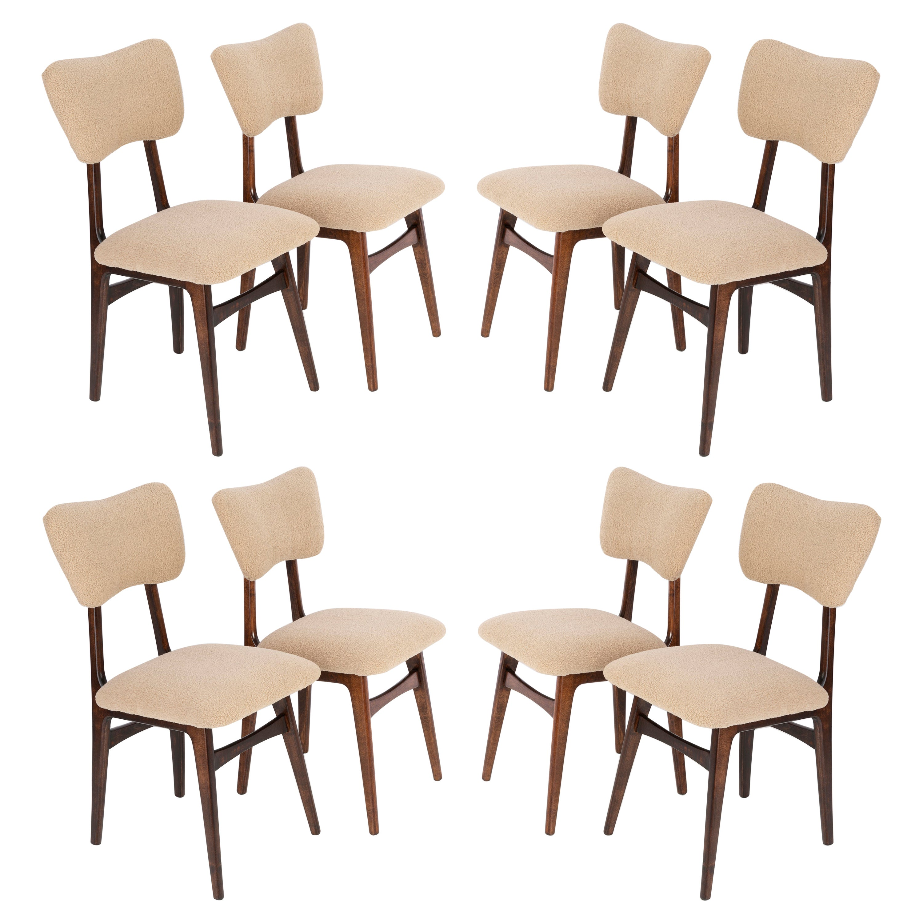 Set of Eight 20th Century Camel Boucle Chairs, 1960s