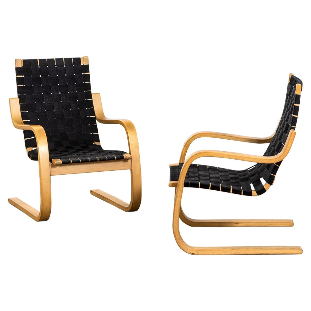 20th Century Alvar Aalto Couple of Armchairs Mod. 406 for Artek in Birch Wood