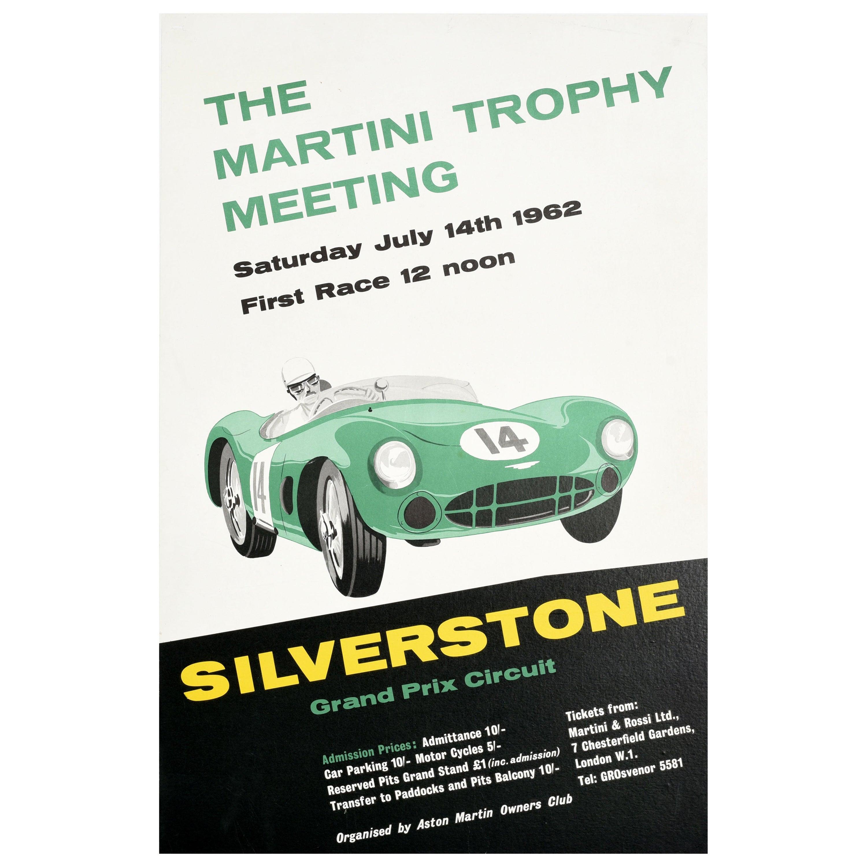 Original Vintage Poster Silverstone Grand Prix Race Martini Trophy Aston Martin